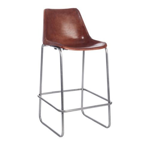 chaise de bar metal chaise de bar métal cuir camel 46216 achat vente