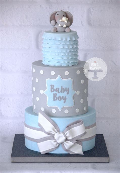 baby shower cake boy a baby boy blue and grey baby shower cake based on a