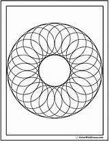Geometric Coloring Pages Shapes Circle Wreath Circles Designs Print Circular Colorwithfuzzy sketch template