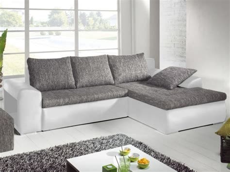 canape avec pouf integre canap 233 angle convertible simili tissu gris mississippi