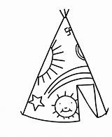 Teepee Coloring Simple Pages Tent Drawing Sheets Objects Printable Clipart Chavez Cesar Tipi Native Easy Ten Commandments American Template Fleur sketch template