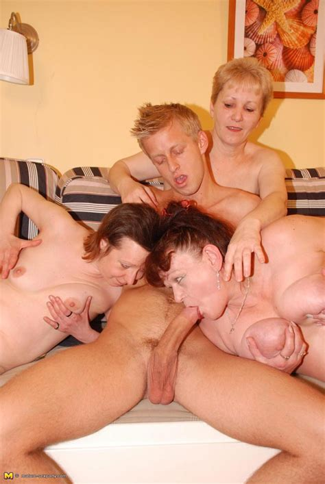 one guy fucking and cumshoing three horny mature ladies