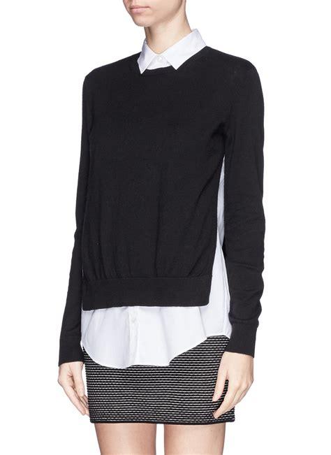 sweater blouse combo theory 39 deverlyn 39 poplin shirt combo sweater in