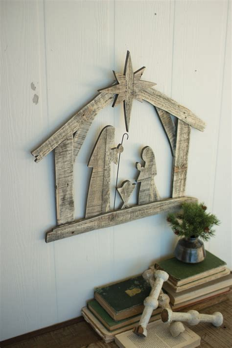 recycled wood nativity wall art
