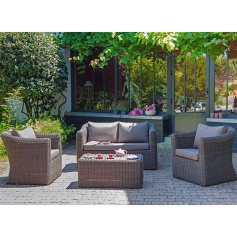 canapé de jardin aluminium salon de jardin 4 places belem en aluminium et résine