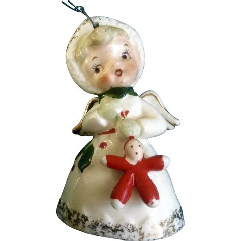napco christmas angel bell holding baby doll ornament