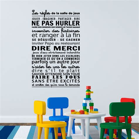 sticker les r 232 gles de la salle de jeux stickers citations fran 231 ais ambiance sticker
