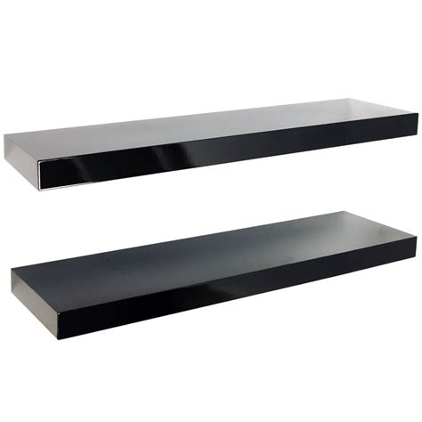 Kitchen Shelves Decorating Ideas - gloss wall mounted 70cm floating shelves pack of two black watson 39 s on the web