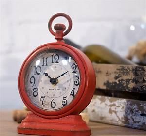 Red Metal Vintage Table Clock Antique Farmhouse