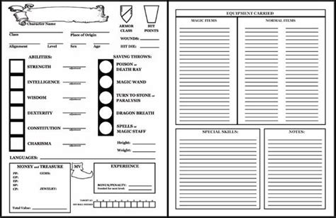 dungeons and dragons 1st edition character sheet search dungeons and dragons