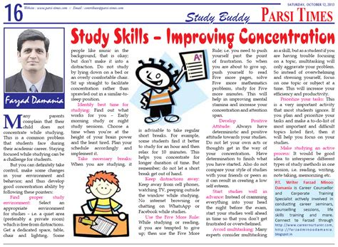 Study Skills  Improving Concentration [article By Farzad Minoo Damania, Career Counsellor In