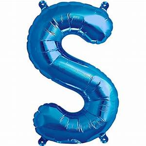 blue foil balloon letter s 16 inches 41cm partyrama With blue foil letter balloons