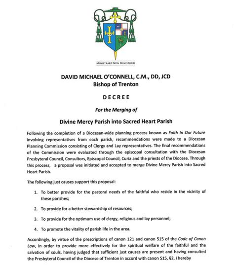 bishop oconnell issues decree merge divine mercy sacred heart