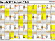 Kalender 2018 SachsenAnhalt Ferien, Feiertage, Excel