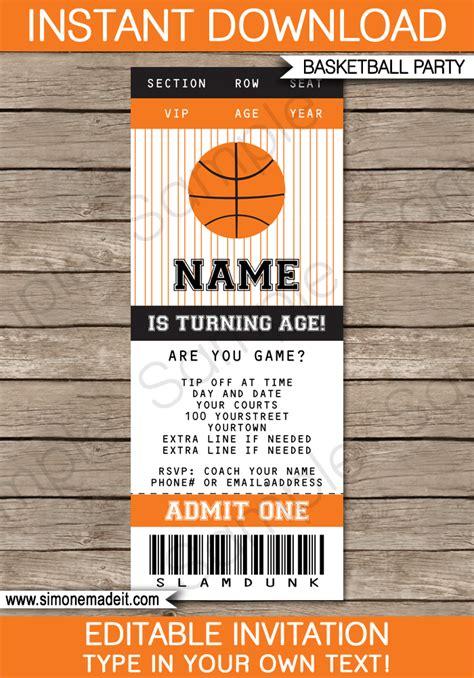 basketball ticket invitation template basketball invitations