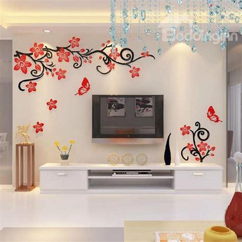 fabulous acrylic  flowers  vines tv wall bedroom