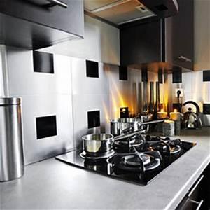 Adhesif Credence Cuisine : credence carreaux inox adhesif metal et noir ~ Melissatoandfro.com Idées de Décoration