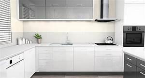 Plan De Travail De Cuisine : emejing cuisine blanc laque et gris pictures design ~ Edinachiropracticcenter.com Idées de Décoration
