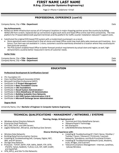 chief information officer resume sle template