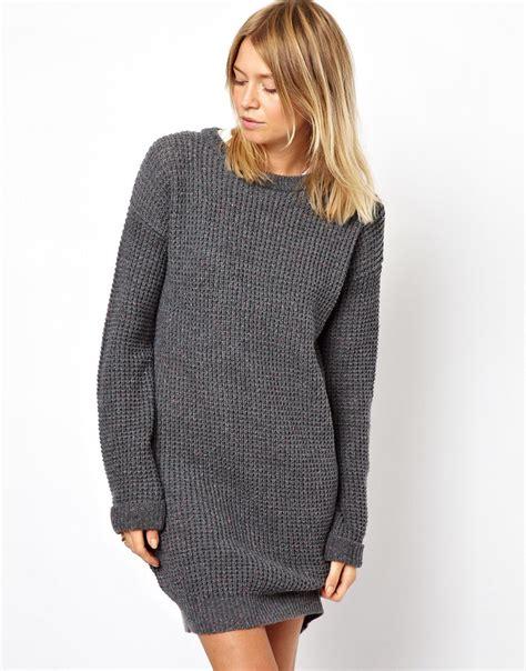 sweater robe asos sweater dress in grey lyst