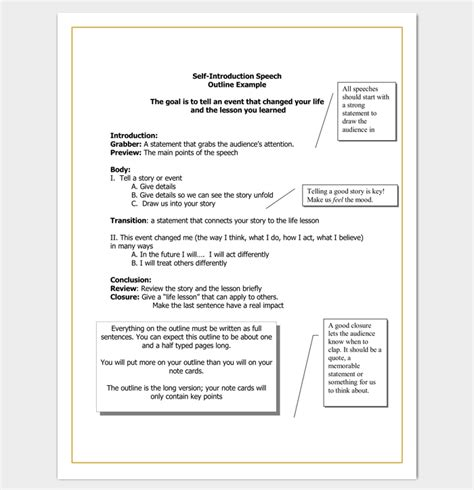 introduction speech outline speech outline template 38 sles exles and formats
