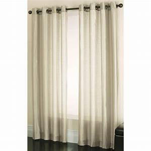 Shop allen roth edistone 63 in l solid ivory grommet for Grommet curtains with sheers