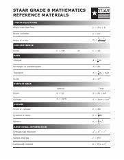 Formula Chart Pdf Staar Staar Geometry Reference