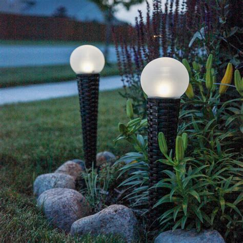 solar wicker garden orb light set of 2 contemporary