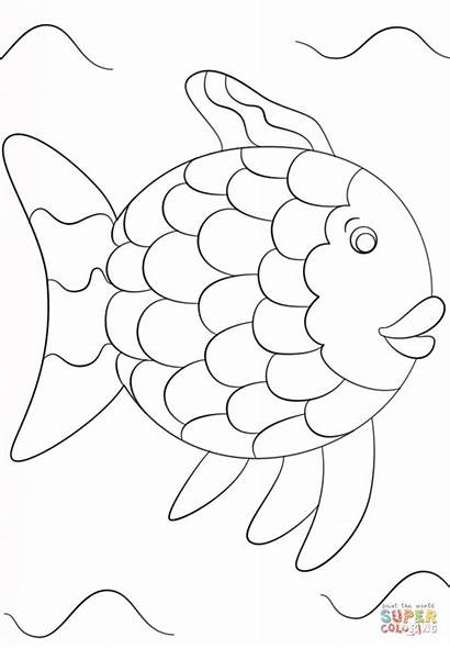 Fish Rainbow Template Coloring Printable Pages Popular