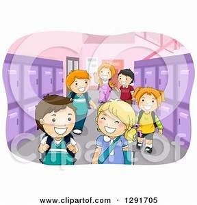 Clipart of a School Hallway with Happy Children and Purple ...