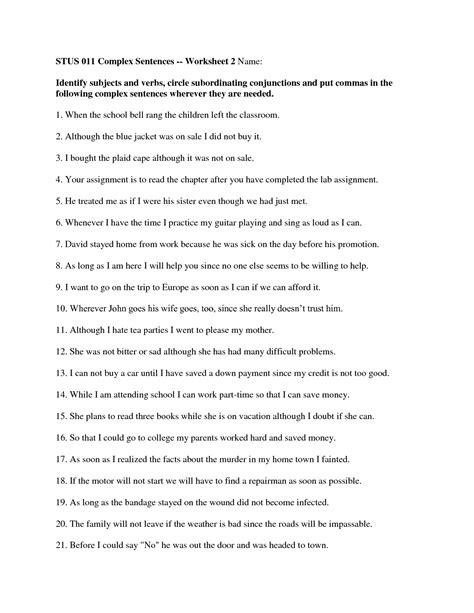 complex sentence 7th grade complex sentences