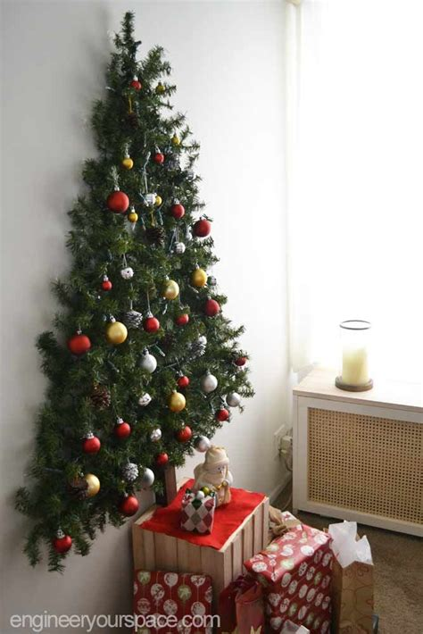 diy wall mounted christmas tree with pine garlands space