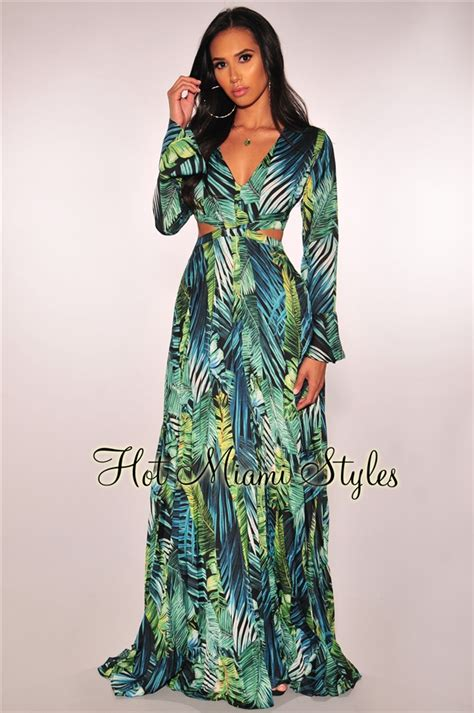 Green Palm Print Cut Out Long Sleeves Pleated Maxi Dress