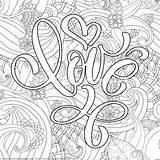 Coloring Valentines Lettering Getcoloringpages Detailed Heart Valentine Mandala Adult Printable sketch template