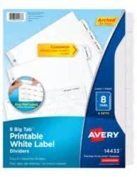 avery big tab printable white label dividers