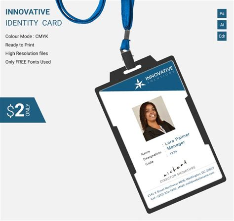 And may be used everywhere visa debit cards are accepted. Simple Innovative Identity Card Template   Free & Premium ...
