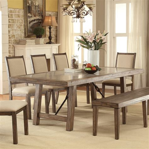 furniture rustic weathered elm stone top dining table