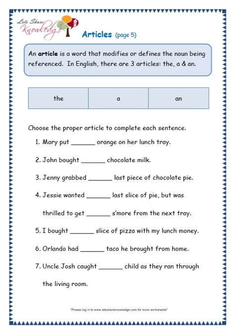 worksheets on articles for grade 4 grade 3 grammar topic 34 articles worksheets lets