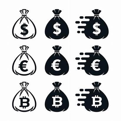 Money Symbols Currency Bag Icons Vector Icon