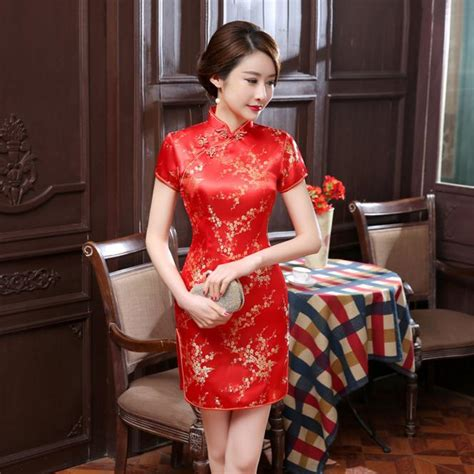 dresses 2018 new year cheongsam style thick warm new 2018 new women traditional dress silk satin