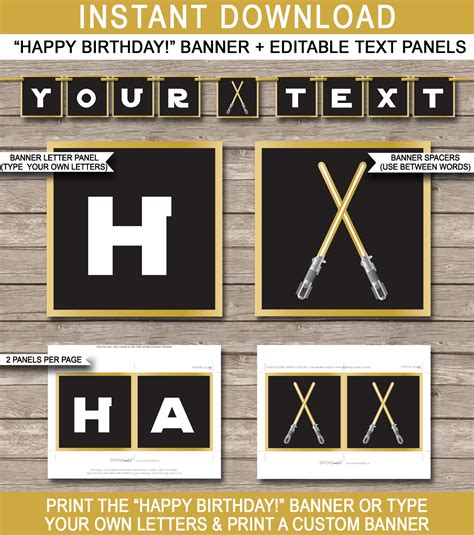 wars template gold wars banner template birthday banner editable bunting