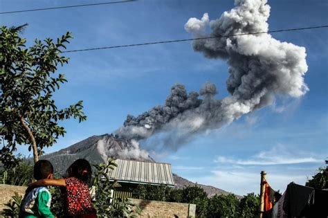 aftermath  mount sinabung volcanic eruption  indonesia