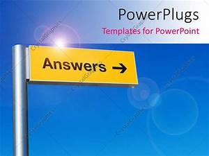 Powerpoint Template  The Sign Of Answers With Bluish Background  1936