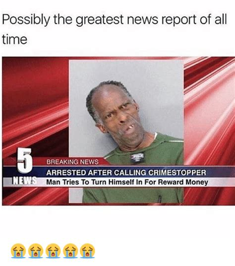 News Meme - possibly the greatest news report of all time breaking news arrested after calling crimestopper