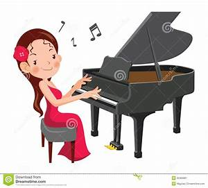 Girl Playing Piano Clipart
