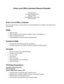 entry level it resume exle entry level resume sles recommendation letters