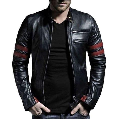 ebay used 39 s stripe leather jacket genuine leather ebay