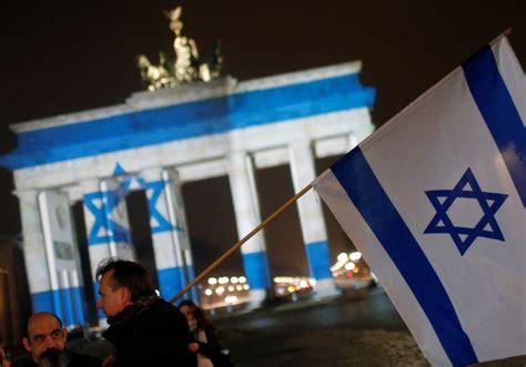 berlin landmark lit   israeli flag  jerusalem