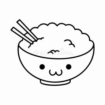 Rice Kawaii Riz Bowl Cartoon Bol Mignonne