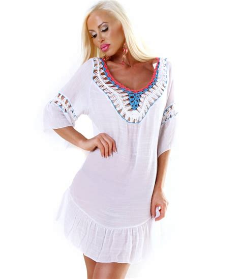 Boho Chic Kleid Kleid New Collection Bohemian Style Weiss Blau All Dresses